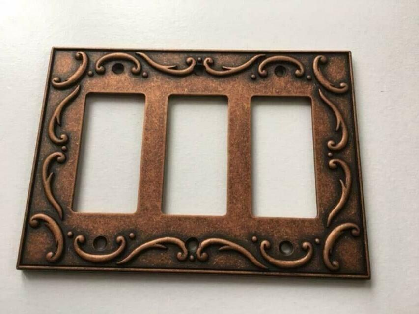triple decorator wall plate french lace copper
