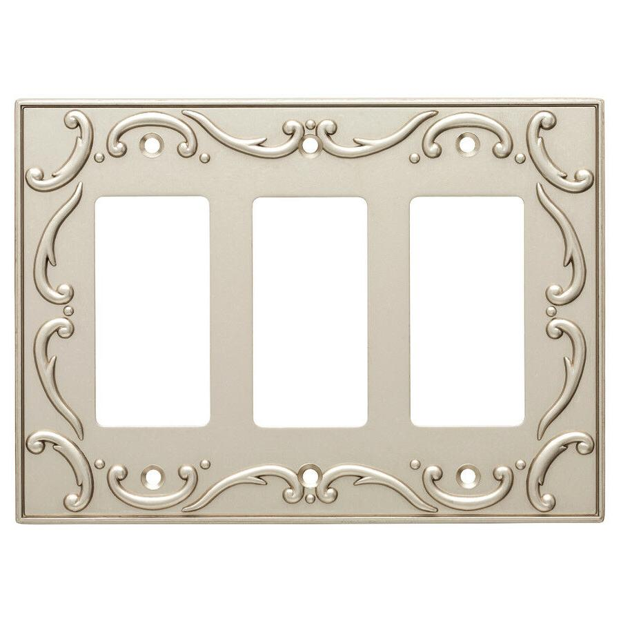 triple decorator wall plate french lace nickel