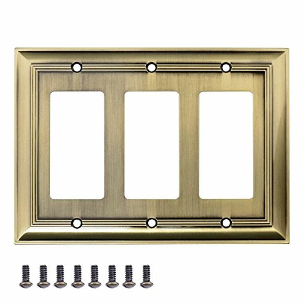 triple gang wall plate antique brass 1
