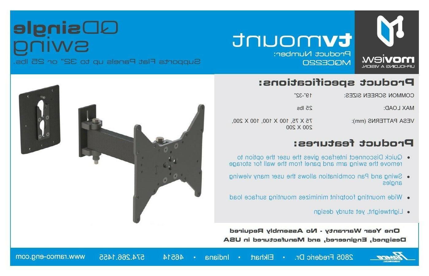 """Tv Removable Face Plate 9"""" Swing arm RV,"""