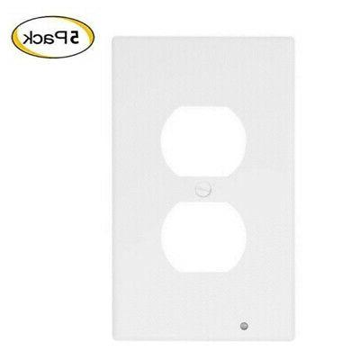 5 Pack Duplex Plate Cover With LED Night Ambient Light Sensor
