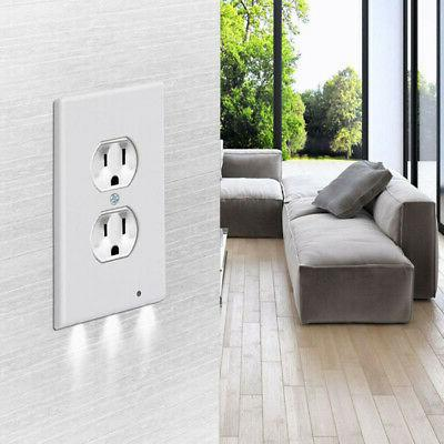5Pc Duplex Plate Outlet Cover w/ Night Lights Light