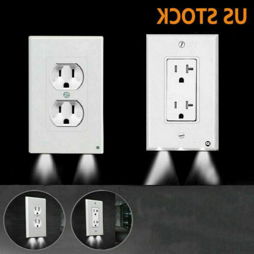 USA Plug Cover LED Night Angel Wall Outlet Face Hallway Bedr