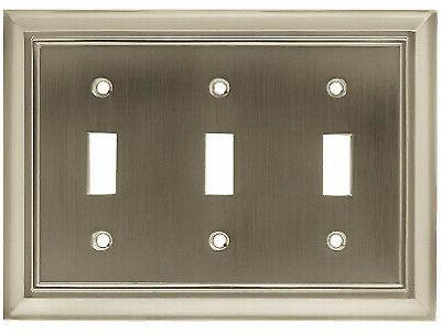 Brainerd W10599-SN-U Architectural Toggle Wall Plate, 3 Gang