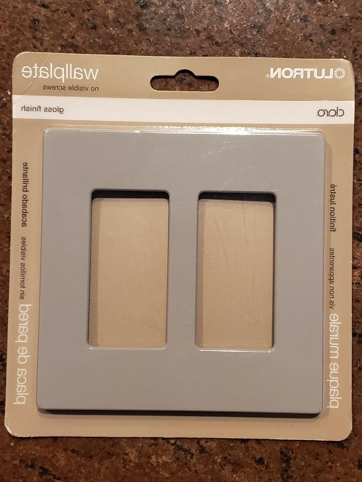 Lutron Wall Plate 2 Gang Rocker Switch Metal Gray No Visible