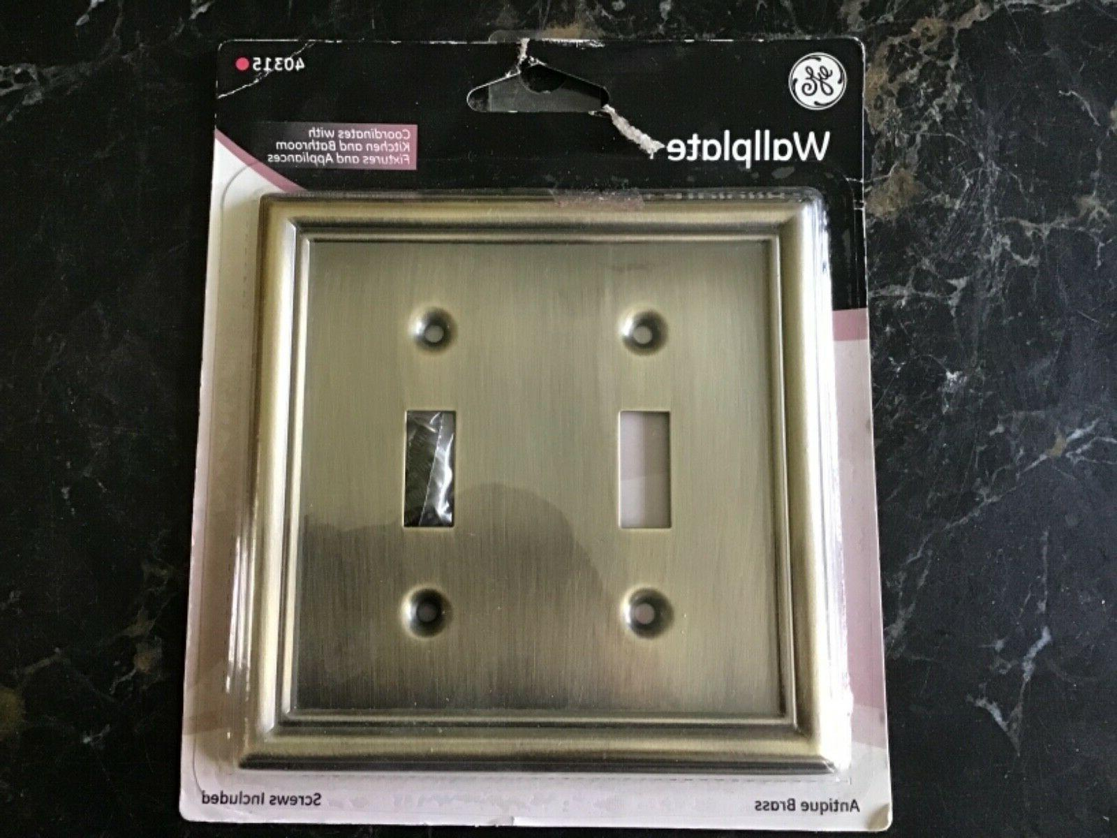 GE Wall Plate Brass Double Rocker Light Switch Cover NWT 40315