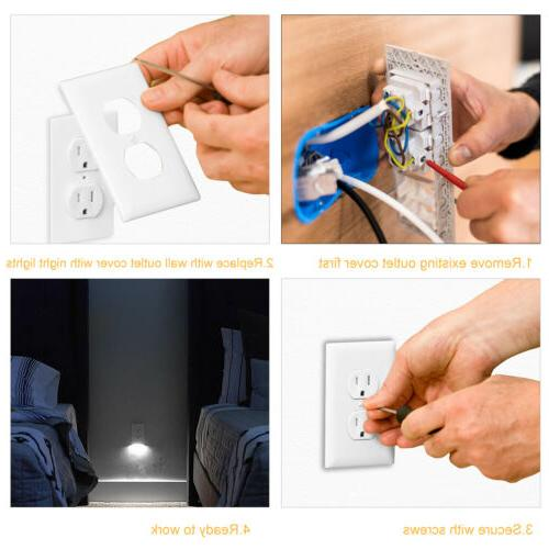 Wall Plate With LED Lights Ambient Sensor Auto On/Off