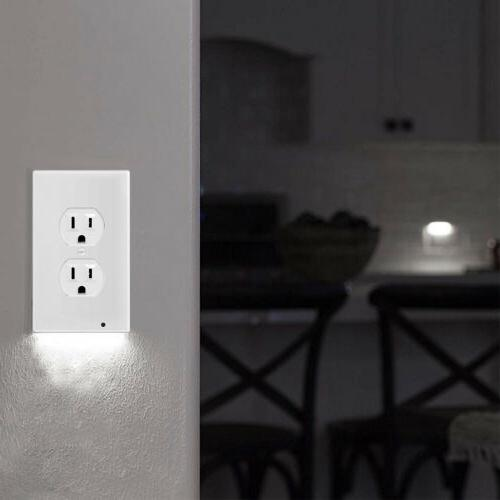 Wall Plate Outlet With LED Lights Ambient Light Sensor Auto On/Off