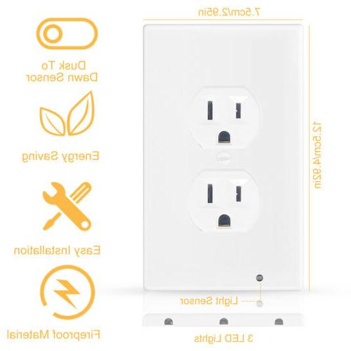 Wall Plate Outlet With Lights Ambient Sensor On/Off