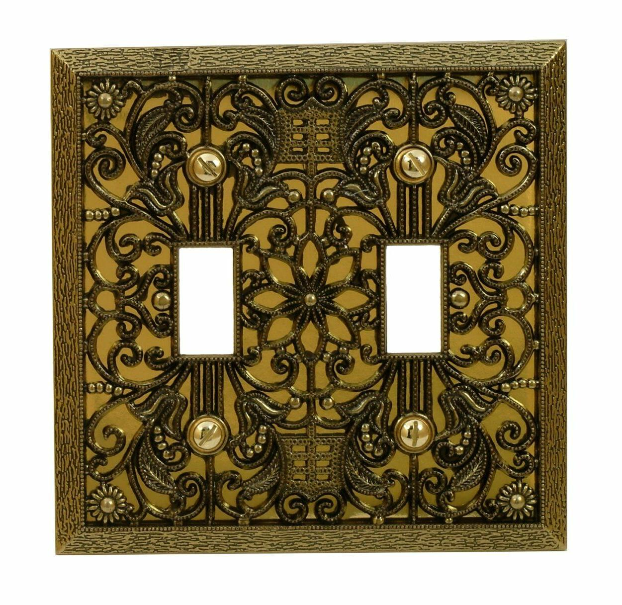 wall switch plate cover filigree antique brass