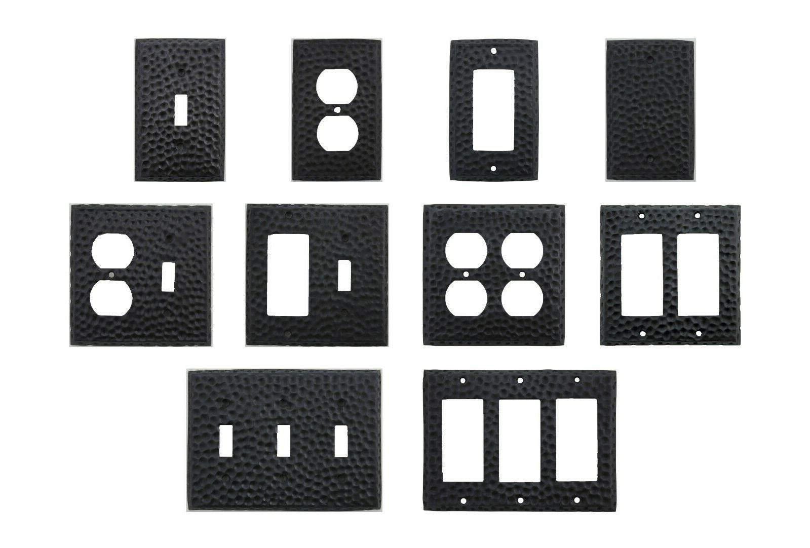 wall switch plates covers hammered matte black