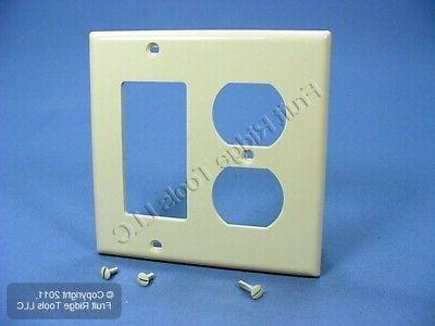 Wallplate 2-Gang 1-Duplex 1-Decora Standard Size Nylon - Ivo
