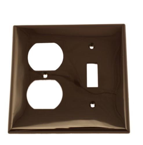 Wallplate 2-Gang 1-Toggle 1-Duplex Standard Size Nylon - Bro
