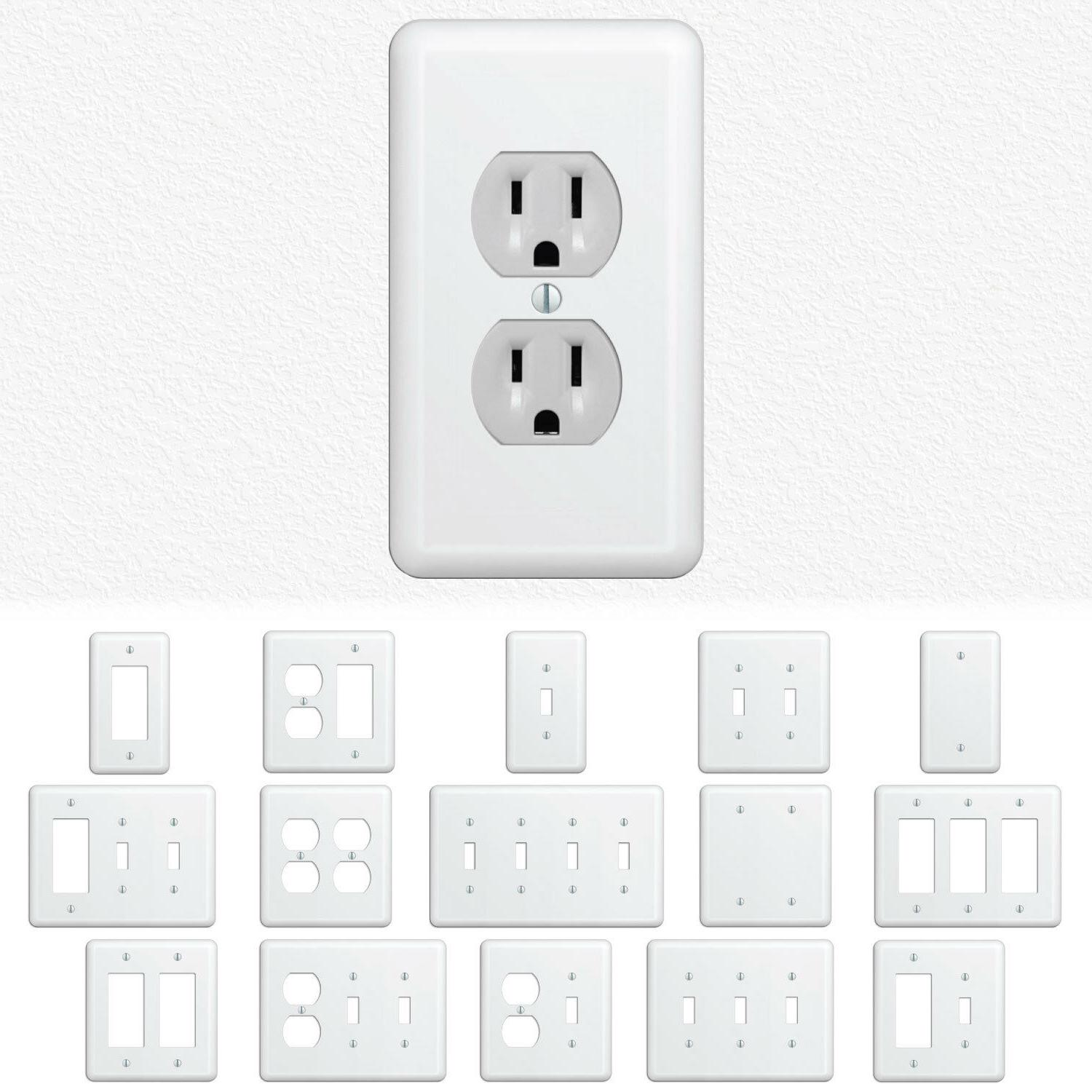 white metal wall switch plate