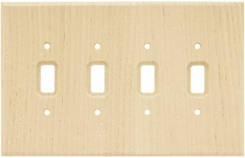 Wood Quad Switch Toggle Wall Plate Unfinished Franklin Brass