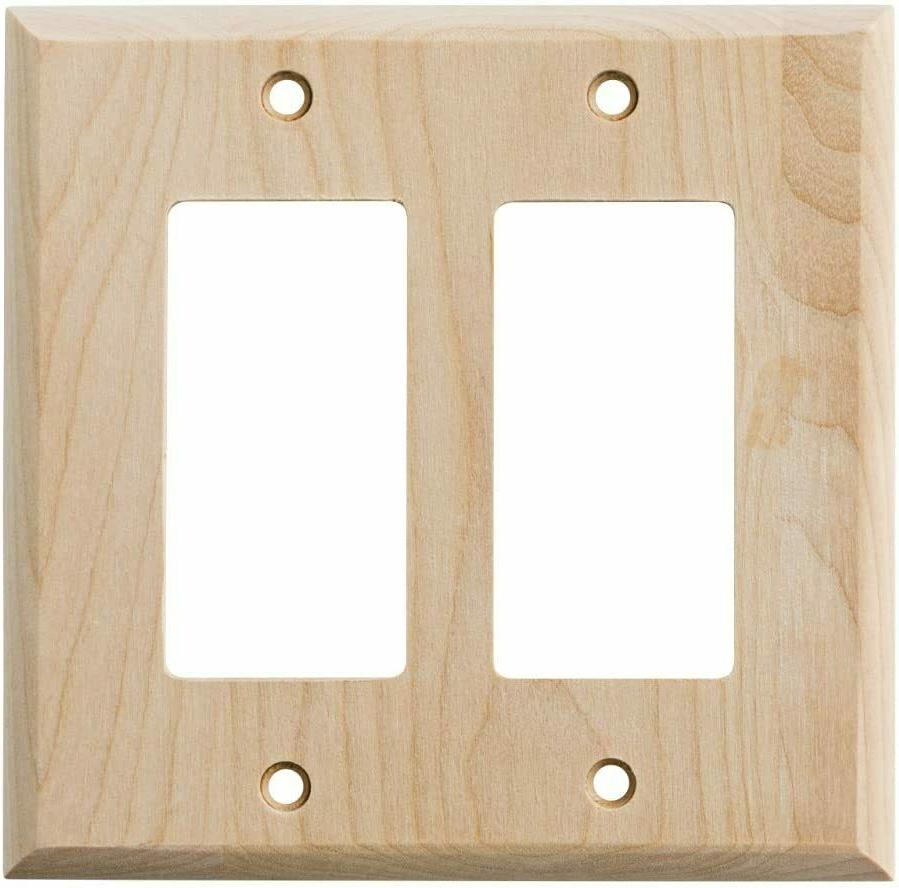 Wood Square Corner Double Decorator Unfinished Wall Plate Fr