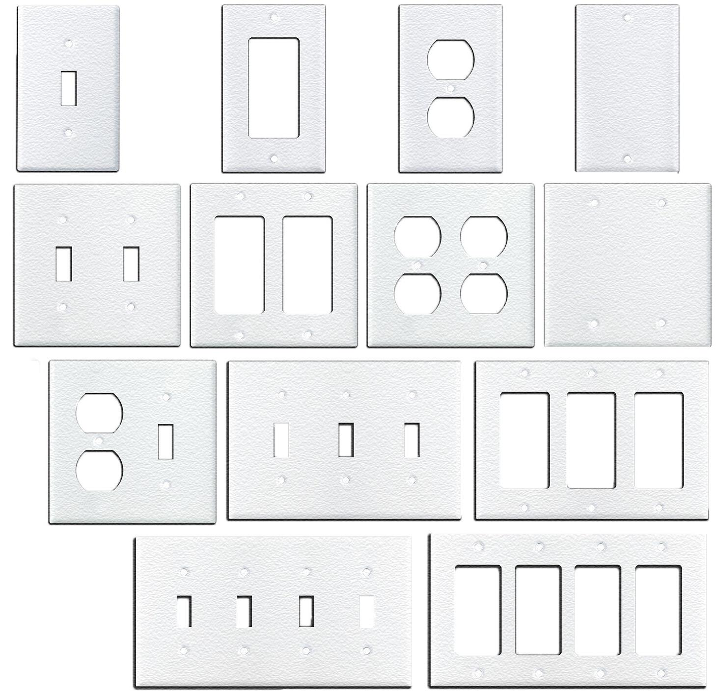 wrinkle white textured metal wall plate covers