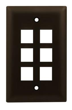 Legrand - On-Q WP3406BR 1Gang, 6Port Wall Plate, Brown
