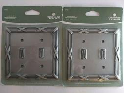 Lot 2 Brushed Satin Pewter Double Light Switch Wall Plate Co