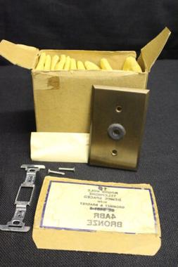 Lot of 15 GE Round Hole Bronze Telephone Cable Wallplate +Ha