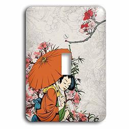 3dRose Lovely Japanese Geisha WIth Umbrella And Sakura Cherr