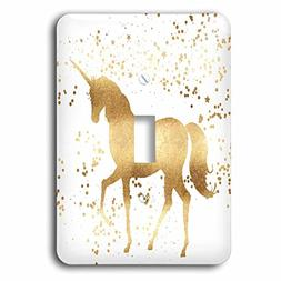 3dRose LSP_280773_1 Image of Gold Confetti Unicorn Toggle Sw