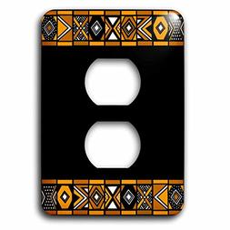 3dRose LSP_76556_6 Brown and Black African Pattern Plug Outl