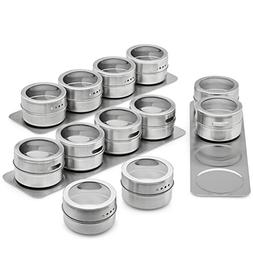 Vistella Magnetic Spice Tins with Wall Mountable Plate Racks