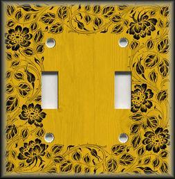 Metal Light Switch Plate Cover - Floral Framed Wood Design D