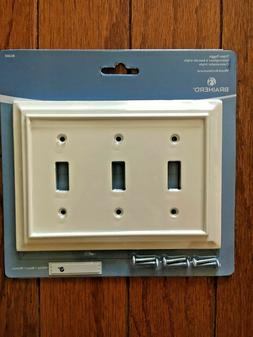 NEW BRAINERD ARCHITECTURAL WHITE WOOD TRIPLE TOGGLE SWITCH P