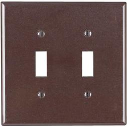 New Leviton Brown MIDWAY 2-Gang Toggle Switch Cover Wall Pla
