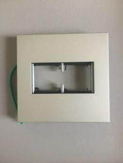 New Legrand adorne 2-Gang Satin Nickel Double Square Wall Pl