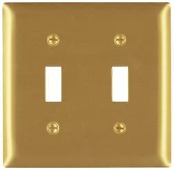 NEW! PASS & SEYMOUR 2 Gang Brass Toggle Wall Plate SB2PBCC10