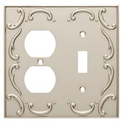 Nickel Double Duplex Wall Plate French Lace Brainerd W10554