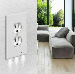 Night Plate Plug Cover With LED Lights White Wall Outlet Cov