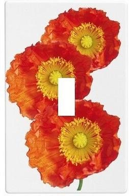 Orange Poppy Flower Wallplate Wall Plate Decorative Light Sw