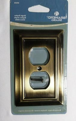 Outlet Plate Cover Single Duplex Bronzed Antique Brass Brain