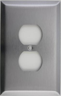 Oversized Jumbo Satin Stainless Steel One Gang Duplex Outlet