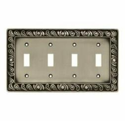 64041 paisley series quad wall plate pewter