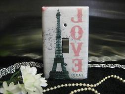 Paris w/Love Eiffel Tower Light Switch Wall Plate Cover #1 -