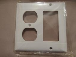 PASS & SEYMOUR P826-W WHITE WALL PLATE - 2 GANG 1 DUPLEX & 1