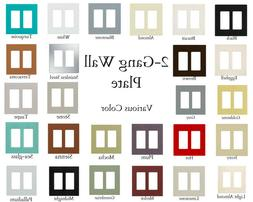Plastic 2-Gang Decorator Wall Plate Electrical Light Switch