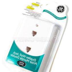 GE Phone Jack Duplex Wall Mount Plate 2 Telephone Outlet 4-W