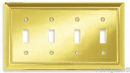 BRAINERD Plated Polished Brass Toggle Quad Light Switch Outl