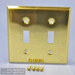 Leviton Polished Brass 2-Gang Toggle Switch Cover Wall Plate