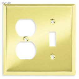 Brainerd Polished Brass Single Toggle Light Switch Duplex Ou
