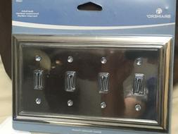 BRAINERD Polished Chrome 4 Gang Toggle Quad Light Switch Wal