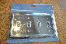 BRAINERD Polished Chrome Quad Light Switch Wallplate Cover