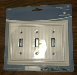 Brainerd pure white beadboard triple toggle Wall Plate # 297