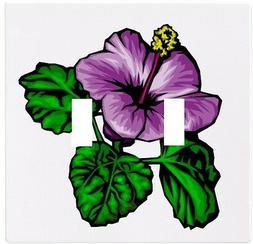 purple hibiscus flower wallplate wall plate decorative